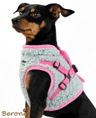 Beroni Jacket Harness Winterweste TEDDY grau-rosa